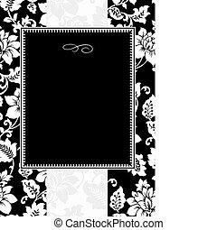 floreale, cornice, vettore, nero
