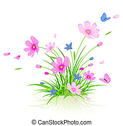 floreale, cosmo, fiori, fondo