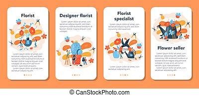 floreale, creativo, fioraio, domanda, mobile, occupazione, set., bandiera, boutique