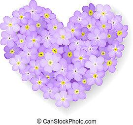 floreale, cuore, vettore