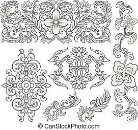 floreale, decorativo, rotolo, modello