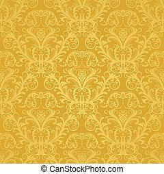 floreale, dorato, carta da parati, lusso
