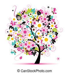 floreale, estate, disegno, albero, tuo