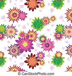 floreale, estate, seamless, colorito, modello