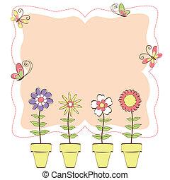floreale, farfalla, colorito