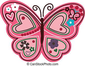 floreale, farfalla, illustrazione