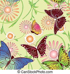 floreale, farfalla, seamless, modello