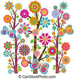 floreale, farfalle, albero
