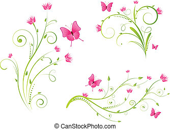 floreale, farfalle, elementi, set