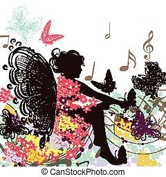 floreale, fata, musica, farfalle