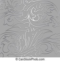 floreale, fondo., carta da parati, argento, vettore