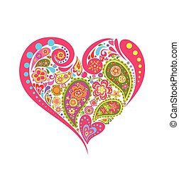 floreale, forma cuore, paisley