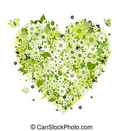 floreale, forma cuore, verde, estate