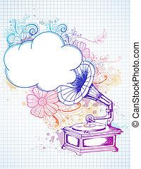 floreale, grammofono, astratto, fondo