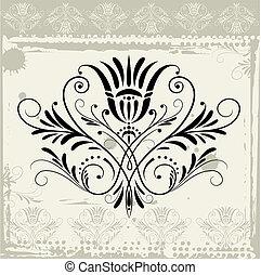 floreale, grunge, ornamento, fondo
