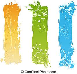 floreale, grungy, bandiere, elementi, verticale