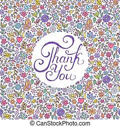floreale, lei, ringraziare, scheda