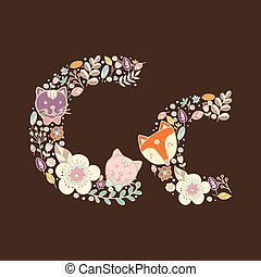 floreale, luminoso, c., lettera, elemento
