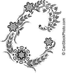 floreale, maiuscolo, c, lettera, monogram