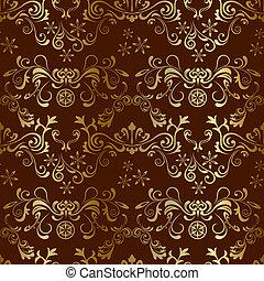 floreale, marrone, seamless, modello