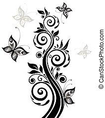floreale, nero, albero