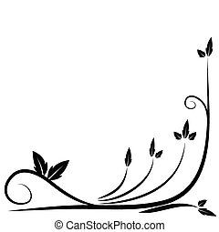 floreale, nero, bordo