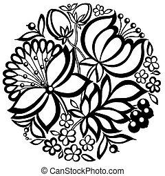 floreale, nero-e-bianco, cerchio, forma, disposizione