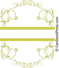 floreale, ornamentale, cornice, verde