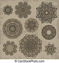 floreale, ornamentale, set, elementi, vendemmia