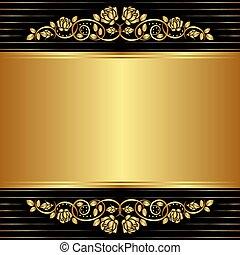 floreale, ornamenti, nero, oro, fondo