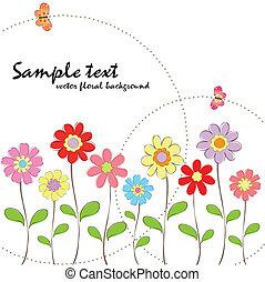 floreale, primavera, estate, colorito, butte