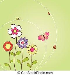 floreale, primavera, fondo, estate