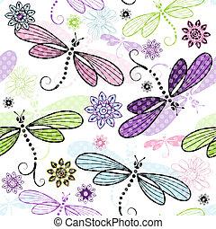 floreale, primavera, libellule, seamless, modello