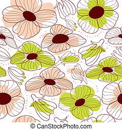 floreale, primavera, seamless, modello
