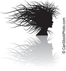 floreale, ragazza, silhouette