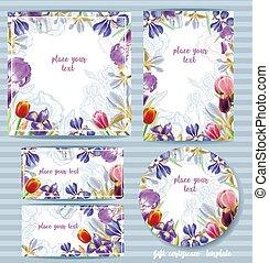 floreale, sagoma, irises., disegno, vettore, scheda