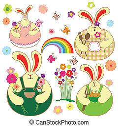 floreale, set, coniglio, primavera, colorito
