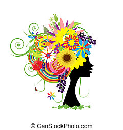 floreale, testa, donna, acconciatura