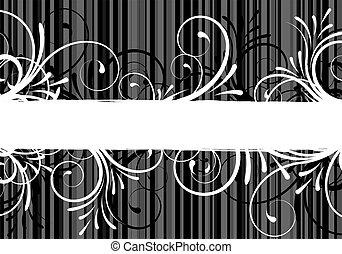 floreale, testo, astratto, cornice