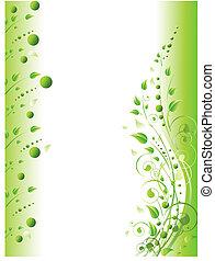 floreale, turbini, verde, cornice, fogliame