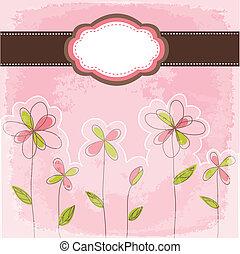 floreale, vendemmia, cornice, scheda