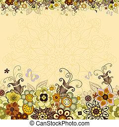 floreale, vendemmia, cornice