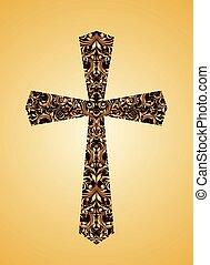 floreale, vendemmia, cristiano, croce, modello