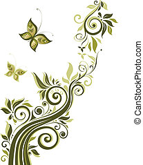 floreale, vendemmia, disegno