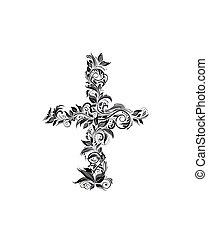 floreale, vendemmia, white), croce, (black