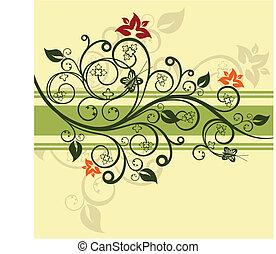 floreale, verde, vettore, disegno, illustrazione