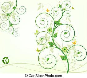 floreale, vettore, fondo