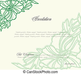 floreale, vettore, sfondo verde, design.