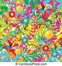 floreale, vibrante, estate, modello
