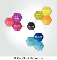 flowchart., piano, esagonale, chart., cerchio, infographics